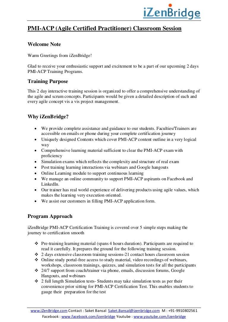 Pmi acp agile classroom training program izenbridge consultancy p 1betcityfo Image collections
