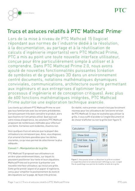 Trucs et astruces relatifs à PTC Mathcad Prime