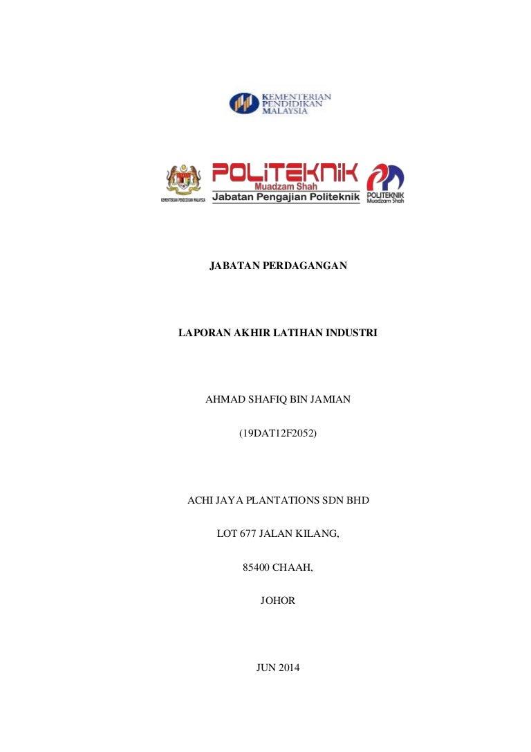 Contoh Report Li Jabatan Perdagangan