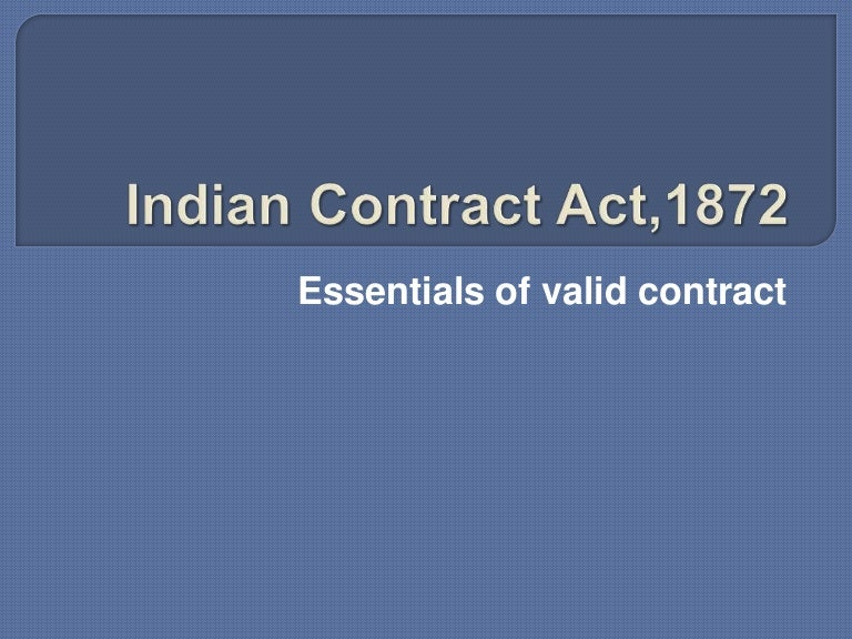 Essential Of Valid Contract