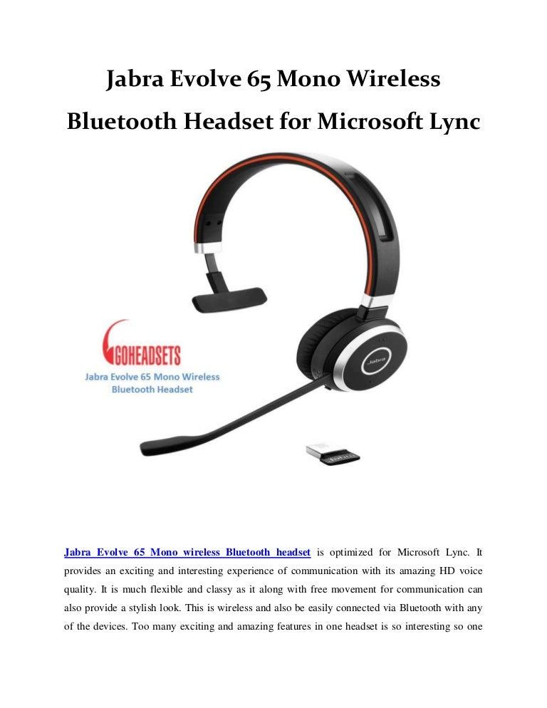 Jabra Evolve 65 Mono Wireless Bluetooth Headset For Microsoft Lync