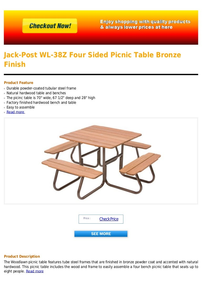 Jack post wl 38 z four sided picnic table bronze finish watchthetrailerfo