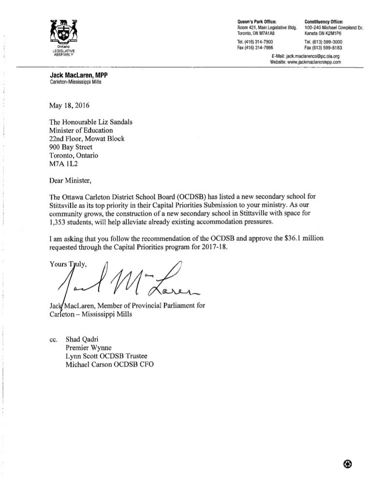 Mpp jack maclaren letter supporting a stittsville public high school stopboris Image collections