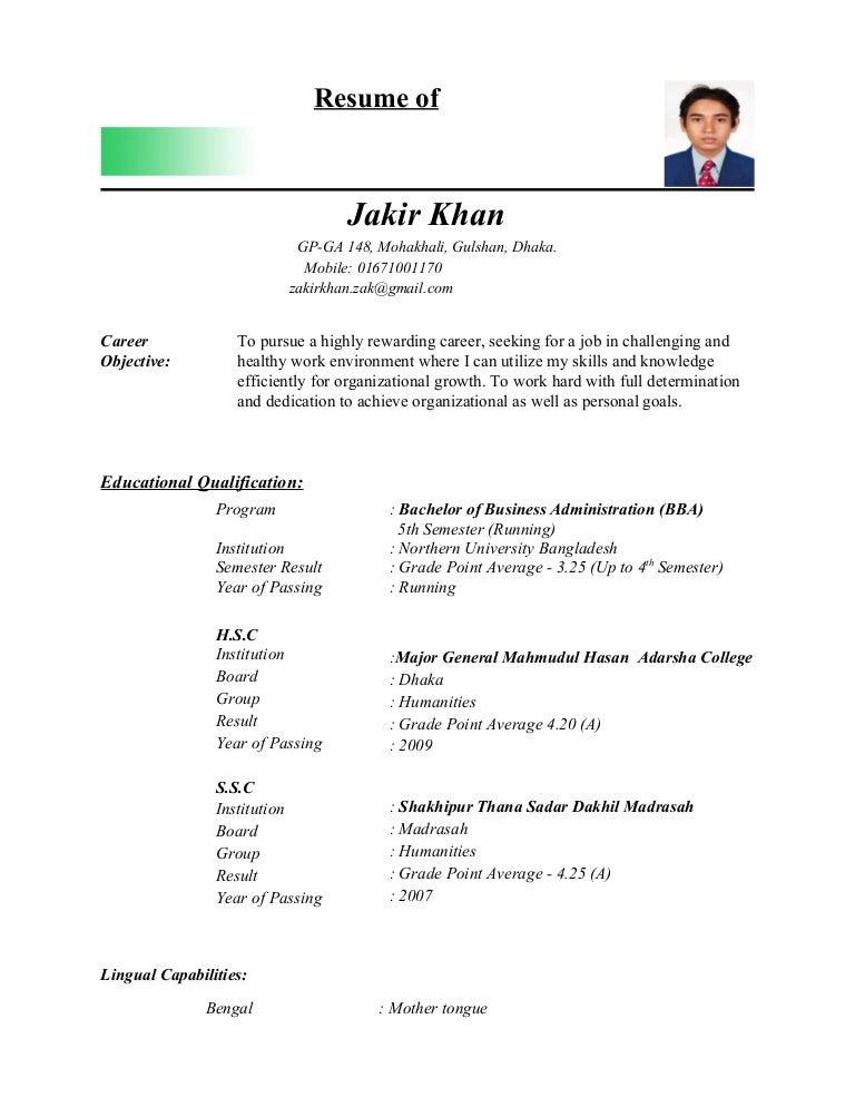 Jakir Khan Cv