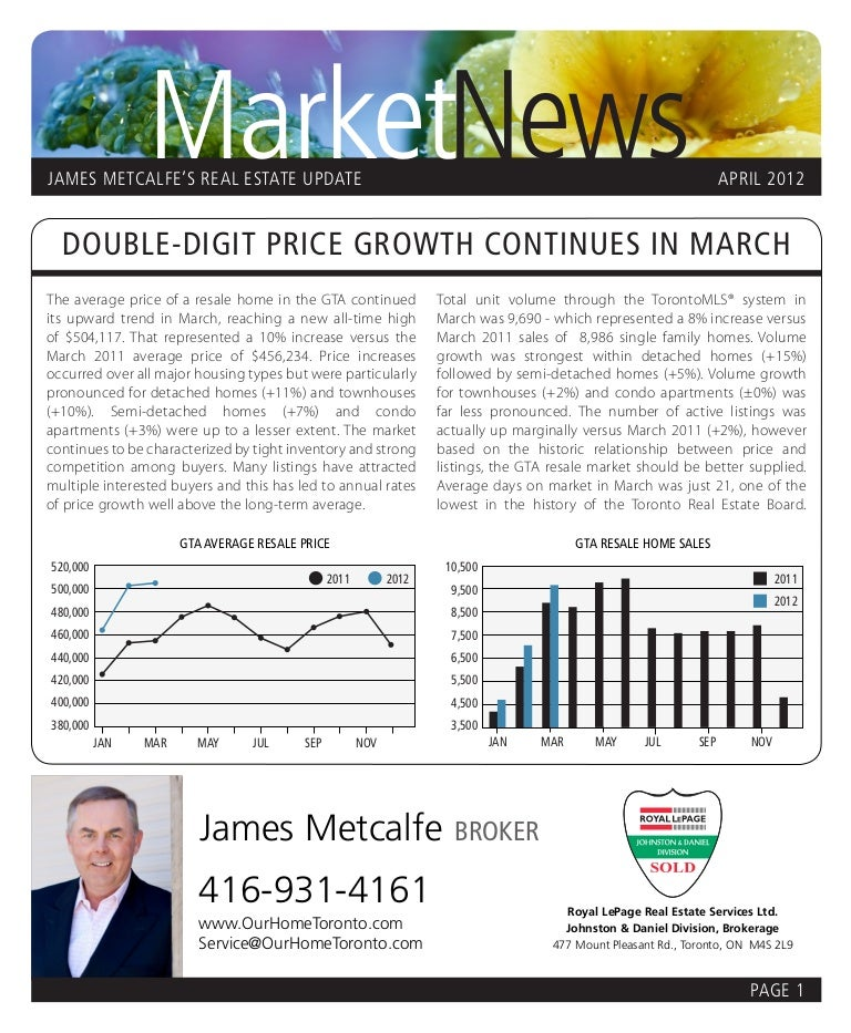 James Metcalfe Real Estate Newsletter April