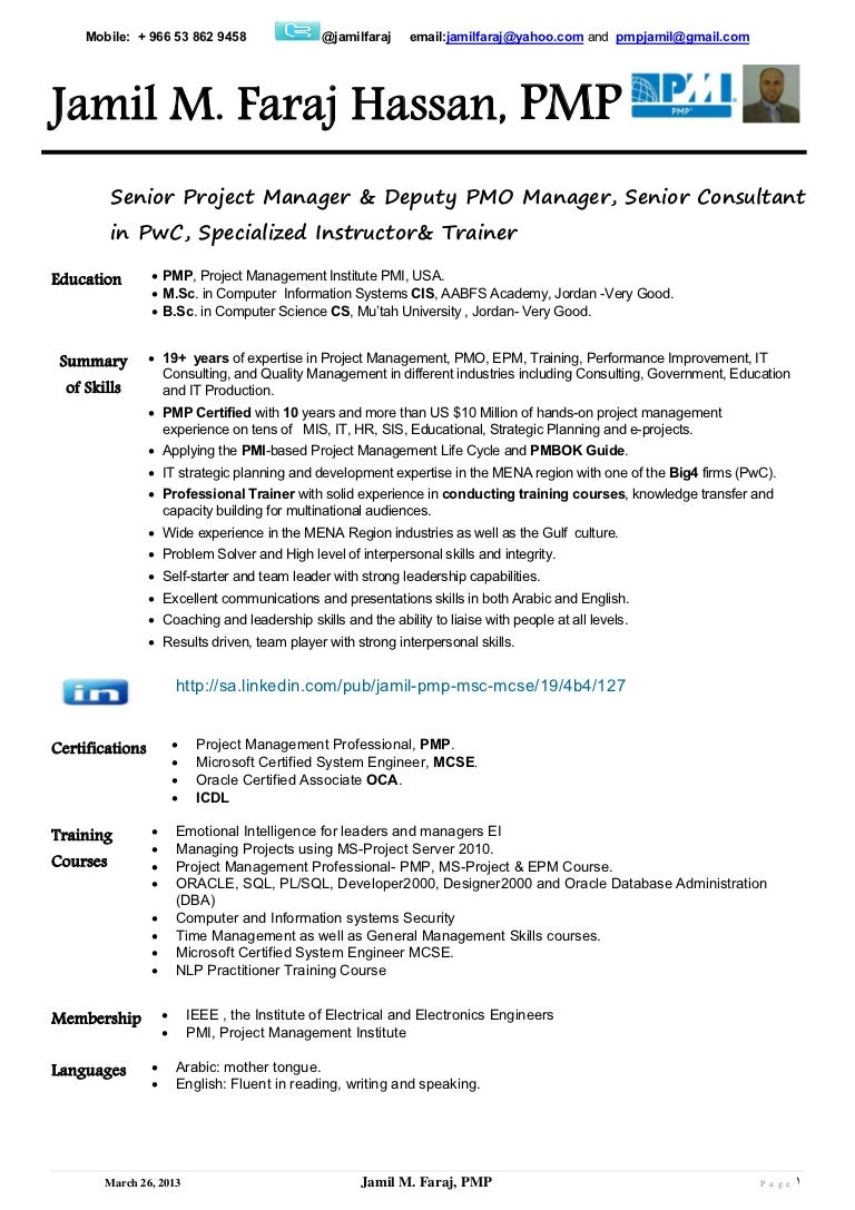 Project Manager Cover Letter And Resume SlideShare  Project Management Professional Resume