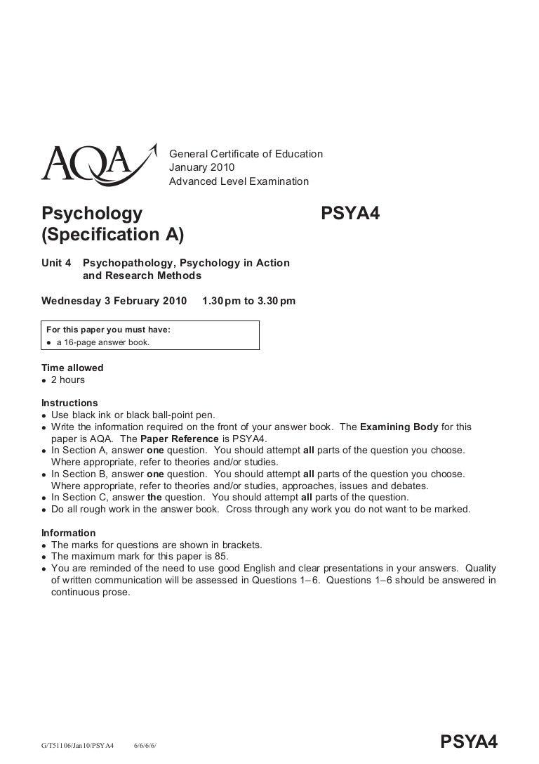Aqa psychology paper 2010 best rhetorical analysis essay editor website for mba