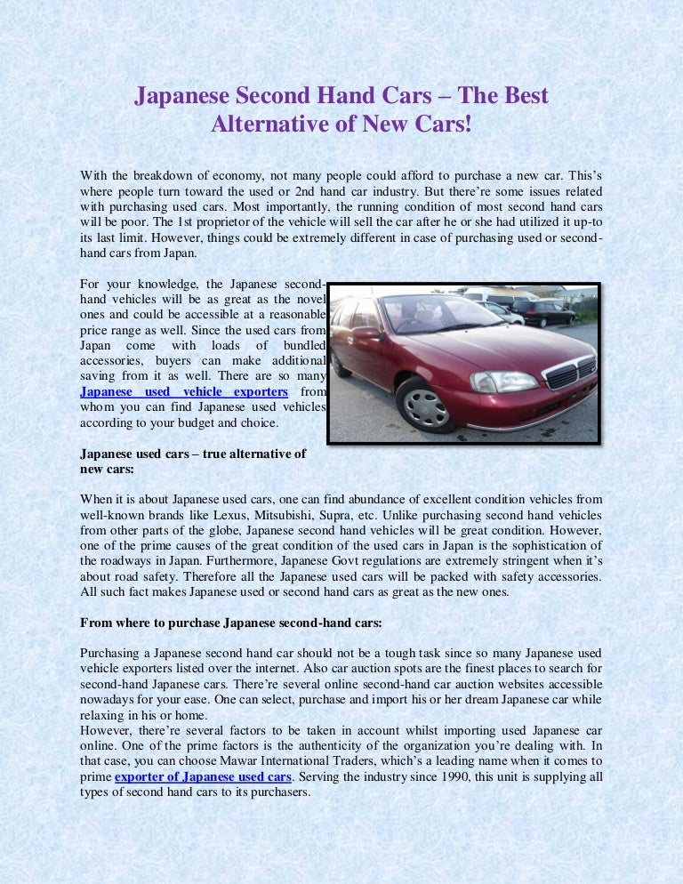Japanese Second Hand Cars The Best Alternative Of New Cars