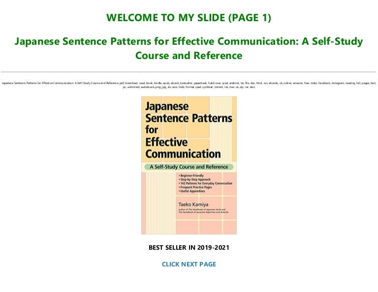 Free [P.D.F Download] Japanese Sentence Patterns for Effective Communication: A Self-Study Course and Reference Full Books
