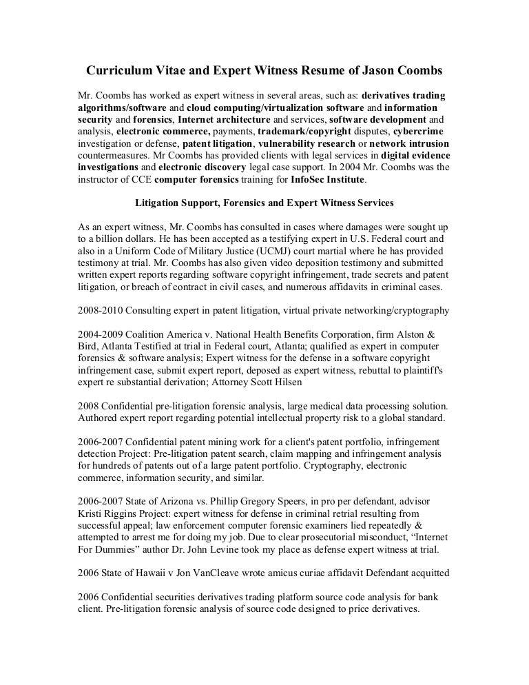 expert witness cv template - Vatoz.atozdevelopment.co