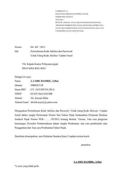 Surat Pemberitahuan Pkp Lampiran Va Per 24 Pj 2012