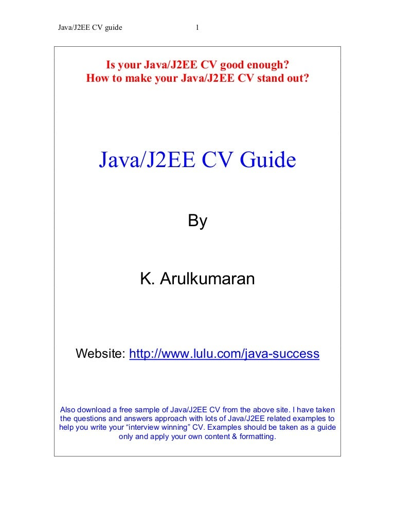 Resume Sample Resume Of Junior Java Developer javaj2ee cv guide