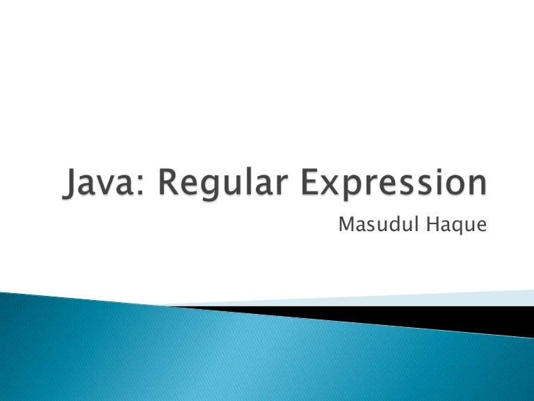 Java: Regular Expression
