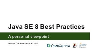 Java SE 8 best practices