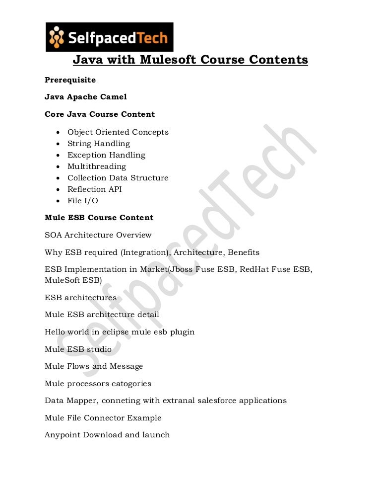 Java With Mulesoft Course Content | Java with Mulesoft