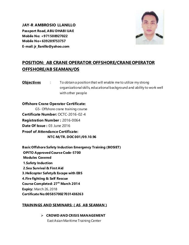 jay r cv ab crane operator offshore crane operator offshore