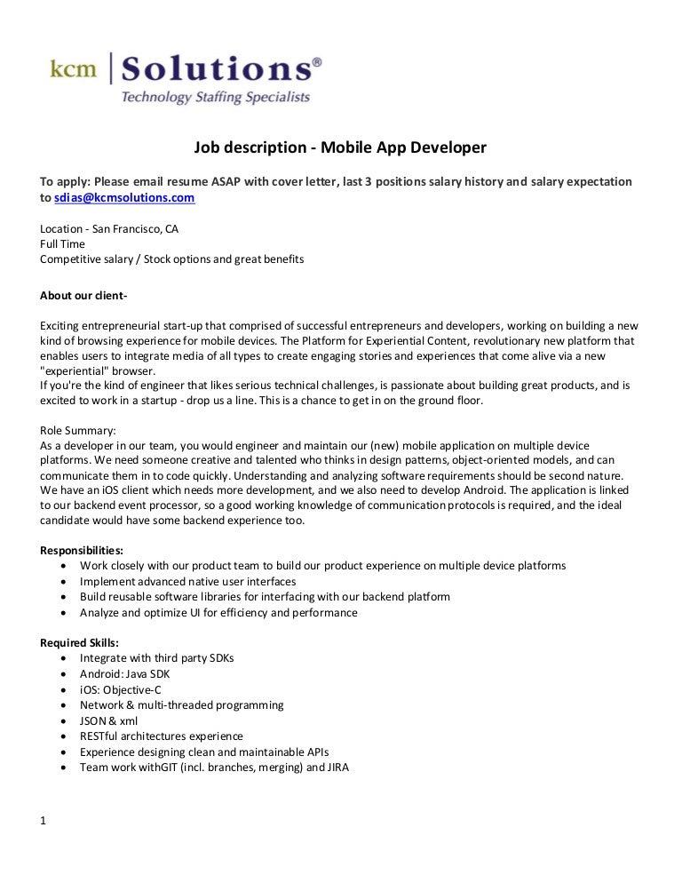 web developer resume examples android developer 3 ios developer – Software Developer Job Description