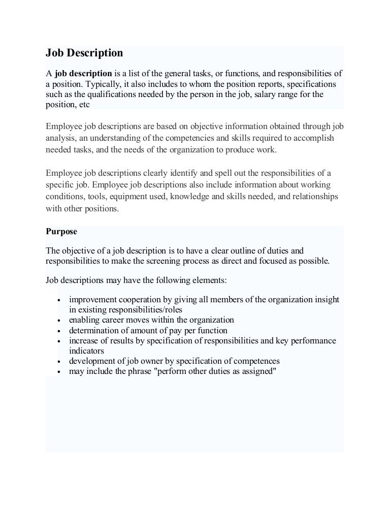 Job Description D & Performance Appraisal