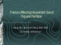 Factors affecting household use of organic fertilizer