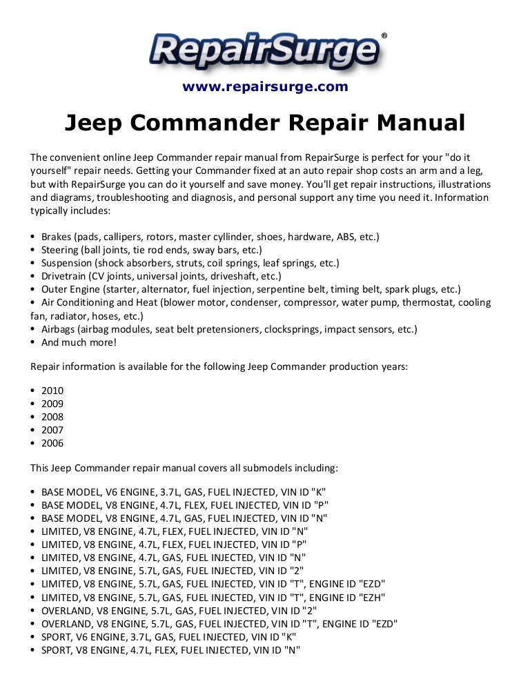 Jeep Commander Repair Manual 2006 2010