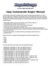 Jeep commander repair manual 2006 2010.