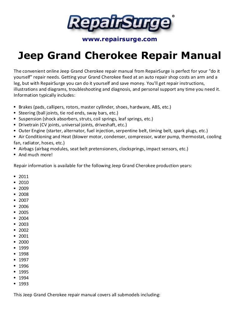 Ziemlich 1995 Jeep Grand Cherokee Schaltplan Bilder - Elektrische ...