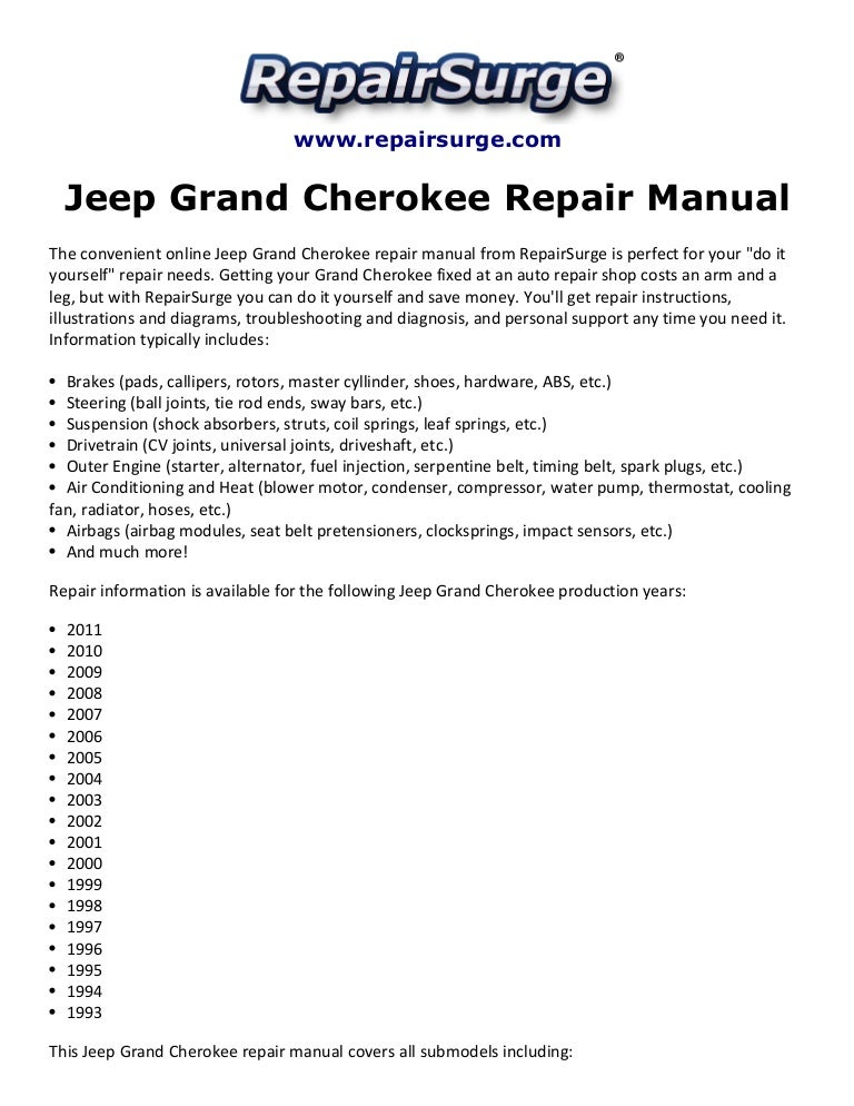 jeep grand cherokee repair manual 1993 2011 rh slideshare net AM Grand Pontiac 1999 1973 Pontiac Grand AM