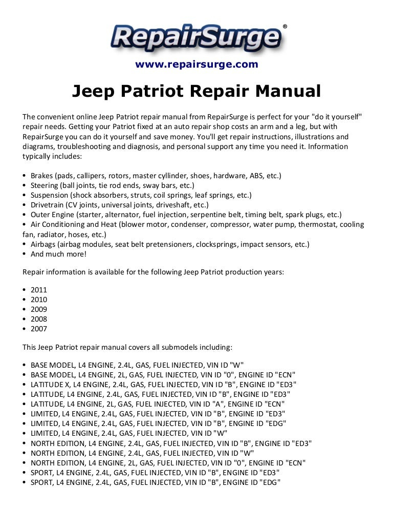 Jeep patriot repair manual 2007 2011.