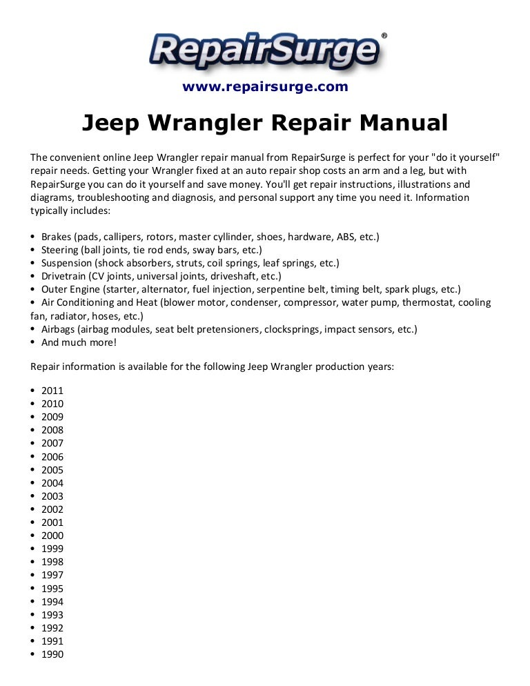 jeep wrangler repair manual 1990 2011 rh slideshare net 1987 Nissan Maxima 1987 Nissan Maxima