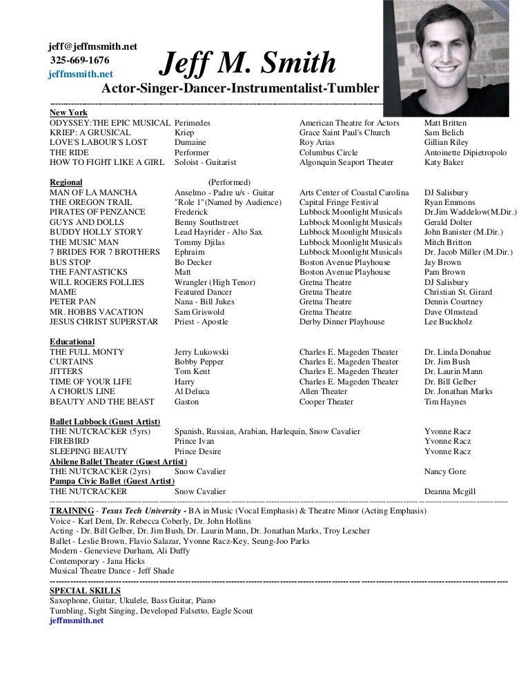 stunning sample musical theatre resume ideas simple resume