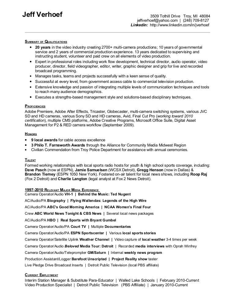 jeff verhoef resume april 2010