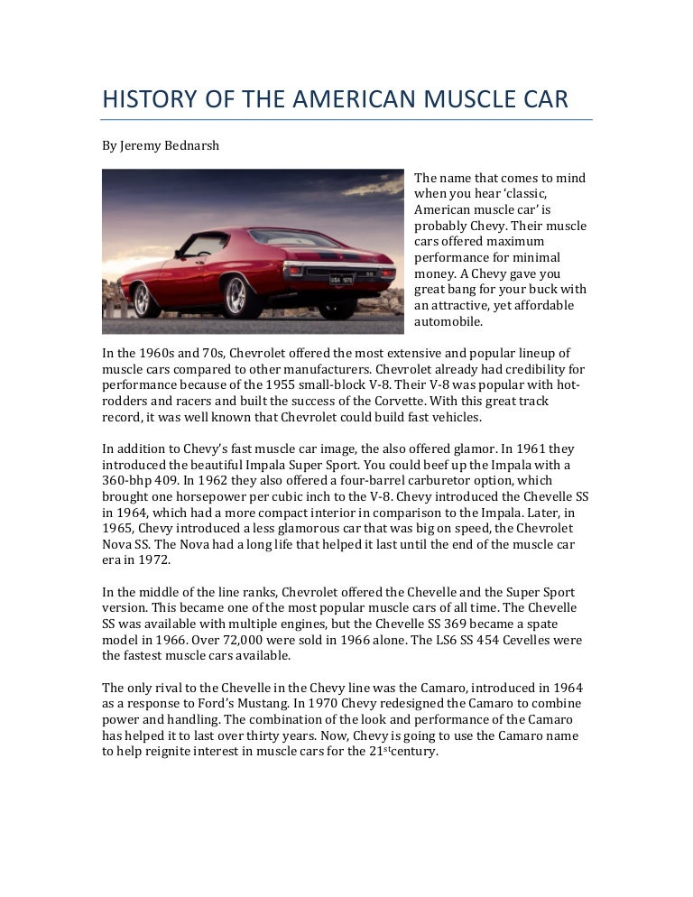 Jeremy Bednarsh Explains The History of the American Muscle Car