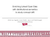 Enriching Linked Open Data with distributional semantics to study concept drift