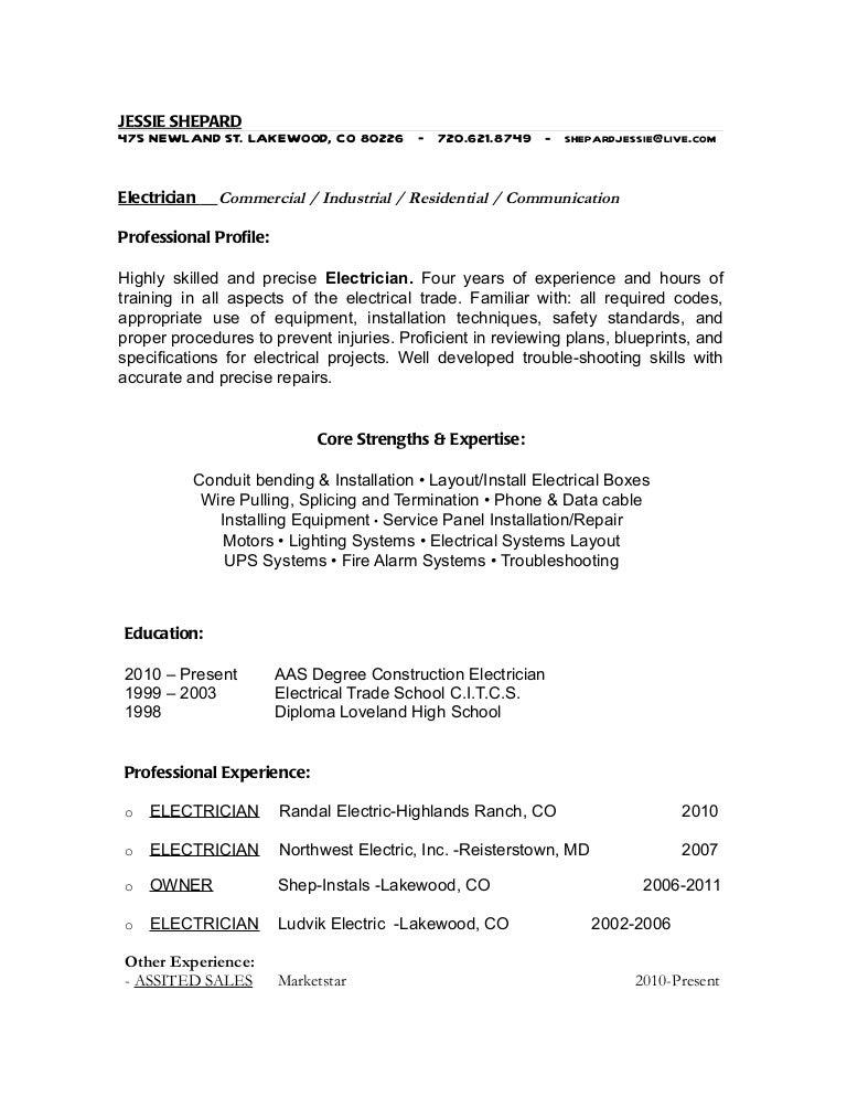 Good Fieldstation.co  Electrician Apprentice Resume