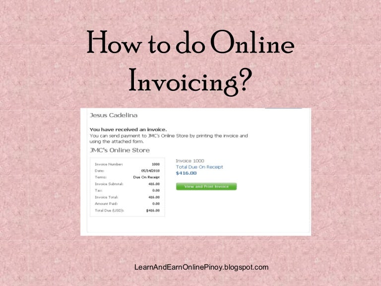 SlideShare  How To Do A Invoice