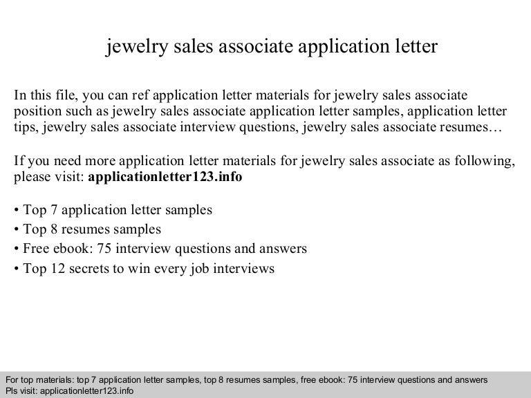 jewelry sales associate application letter