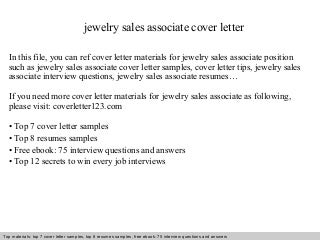 Resume For Sales In Jewelry The Balance Retail Sales Associate Skills Resume  Cover Letter Template For  Jewelry Sales Resume
