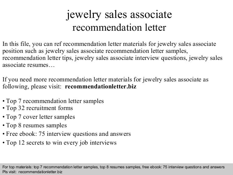 Jewelry sales associate recommendation letter