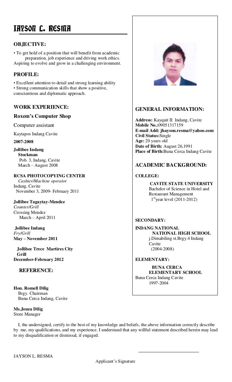 Jhayson Resume