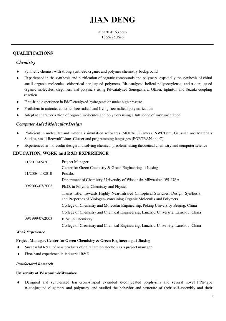Cover Letter Chemistry