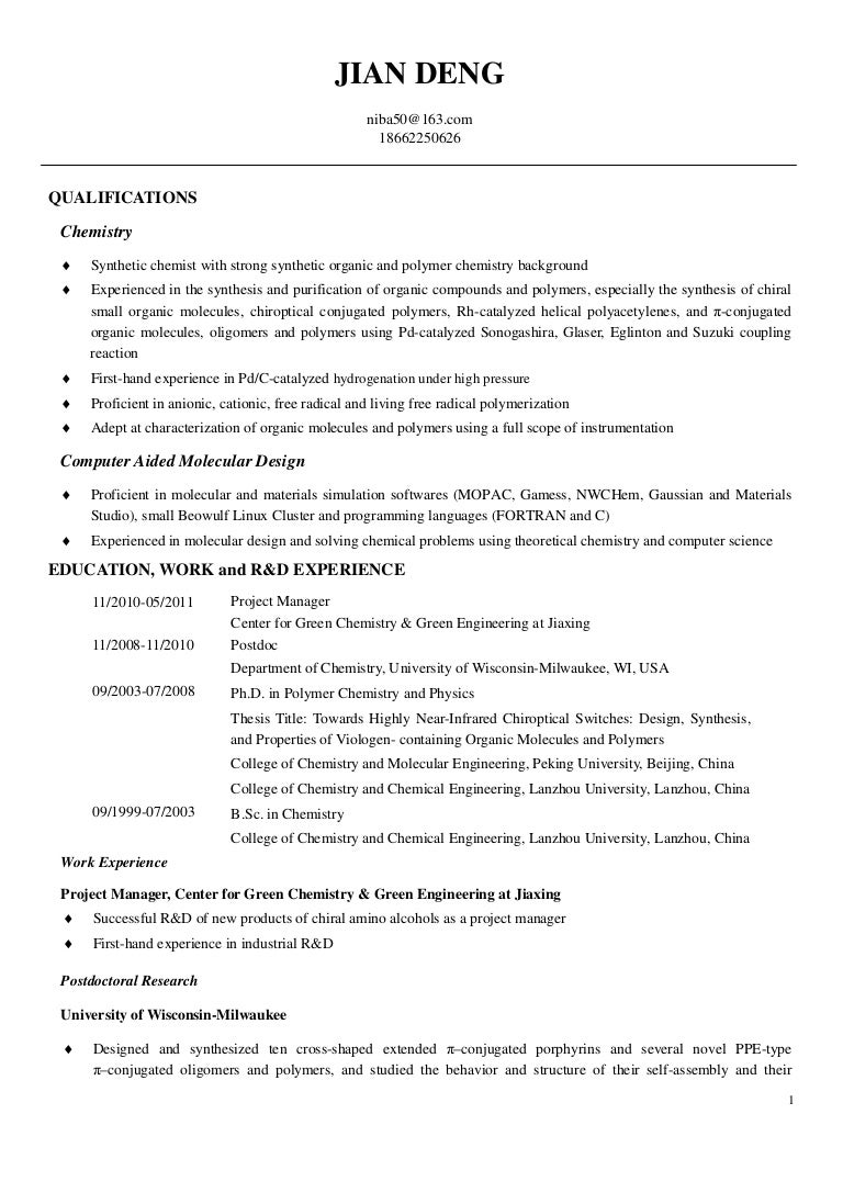 Cover Letter Postdoc Chemistry Sample