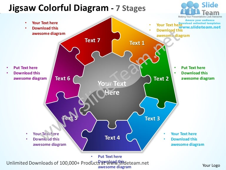 Jigsaw colorful diagram 7 stages powerpoint templates 0712
