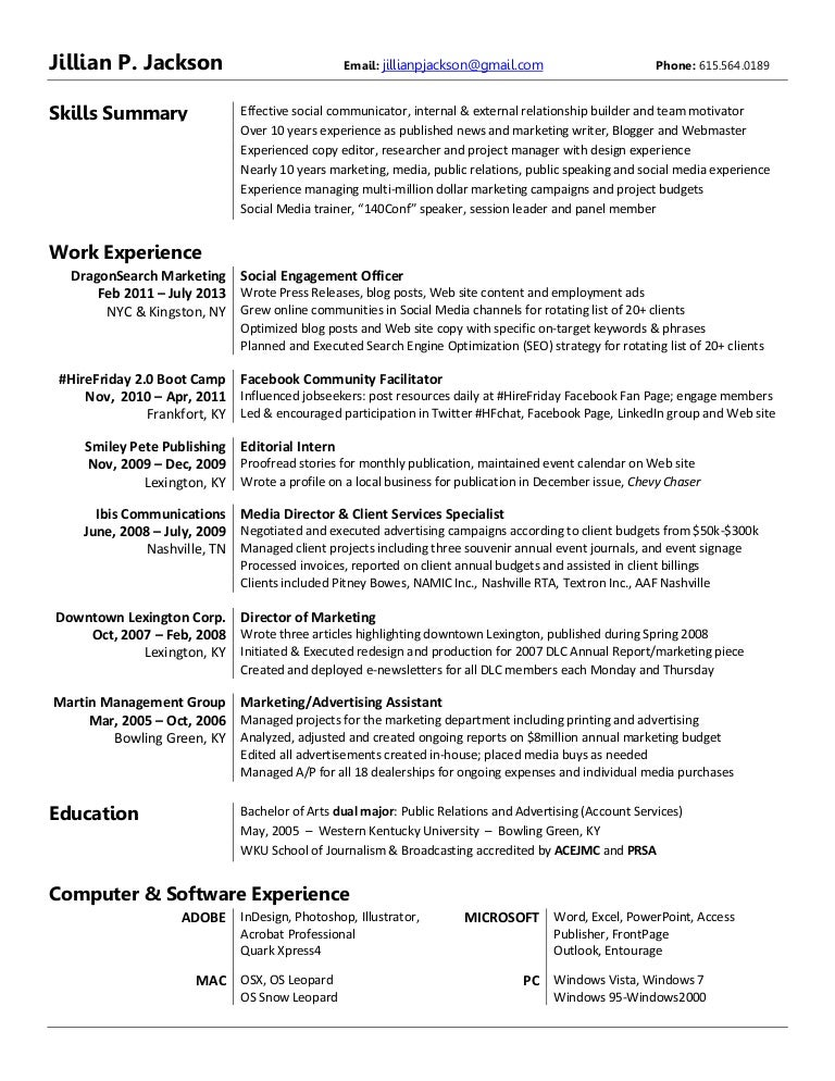 resume jillian jackson