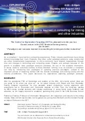 CET Seminar Series - 6 August 2015 - Jim Everett - Paradigm Lost: Lessons learned  in consulting  for mining