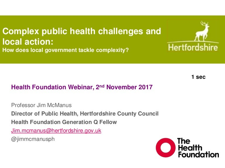 Complex Public Health Problems Systems Approaches