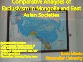 Comparative Analyses of Exclusivism in Mongolia and East Asian Societies