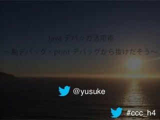 Java デバッガ活用術 ~勘デバッグ・print デバッグから抜けだそう~ #jjug_ccc #ccc_h4