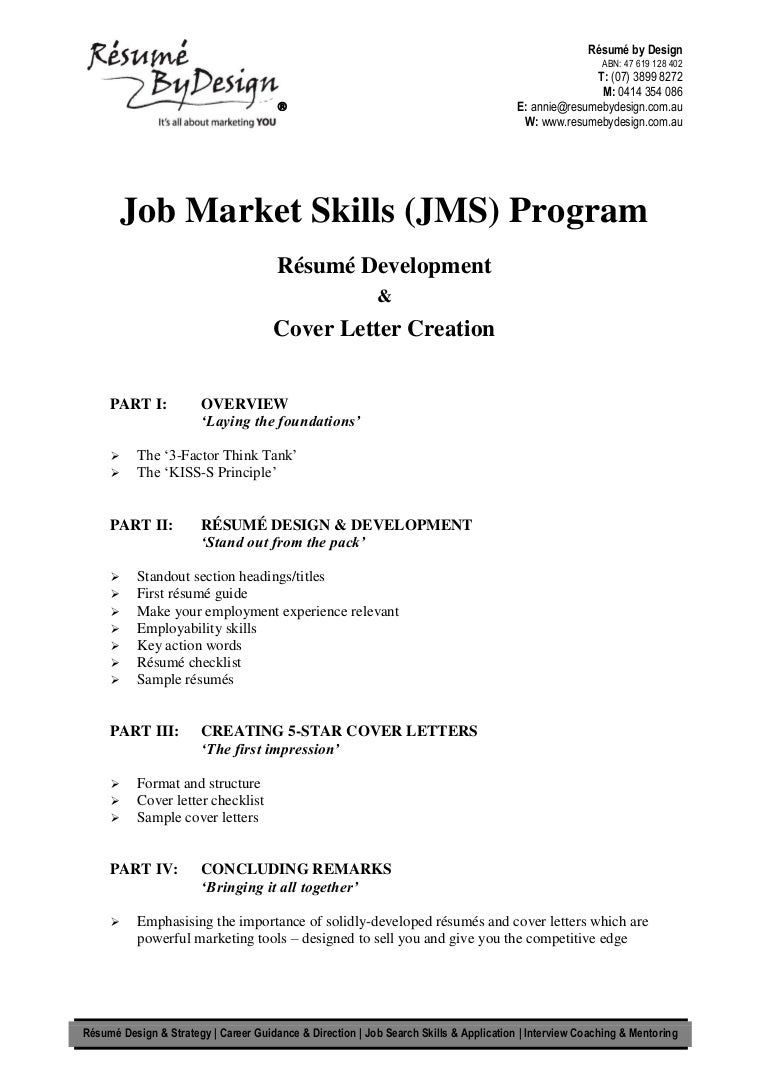 job market skills jms program resumes and letters