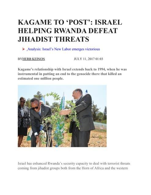 KAGAME TO 'POST': ISRAEL HELPING RWANDA DEFEAT JIHADIST THREATS