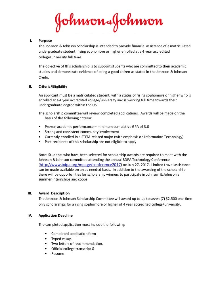 Johnson & Johnson Scholarship for BDPA Students